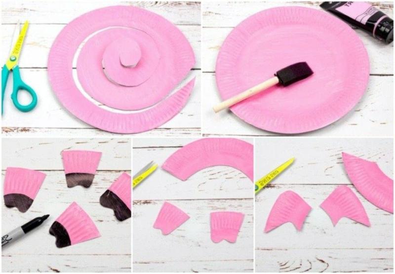 Spiralen aus Pappteller Schweinchen basteln lustig Fasching