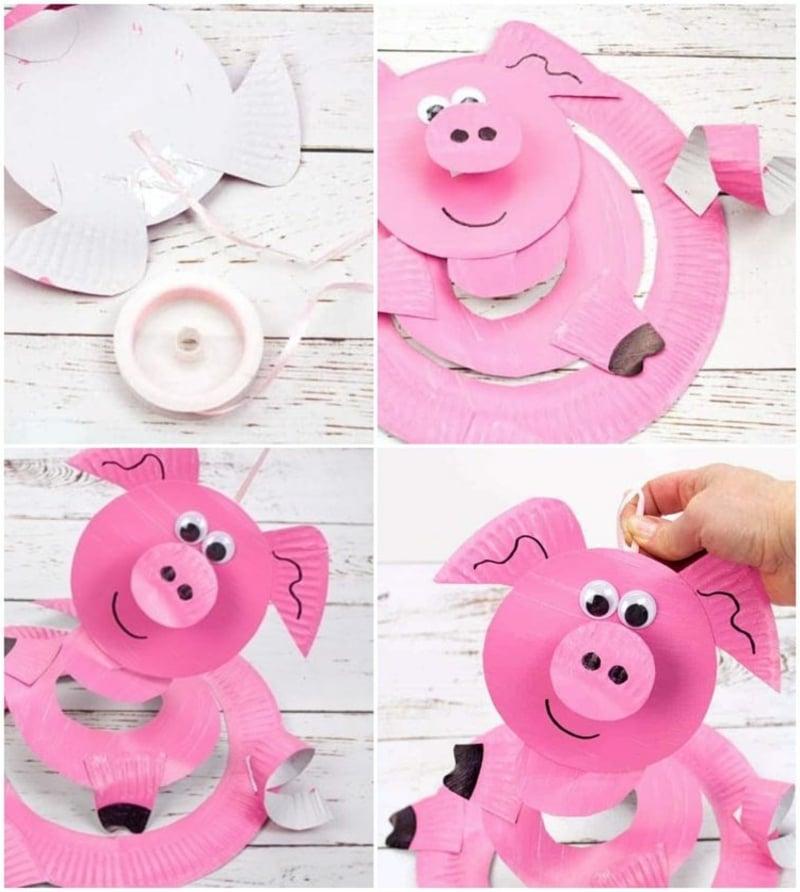 Schweinchen basteln mit Kindern