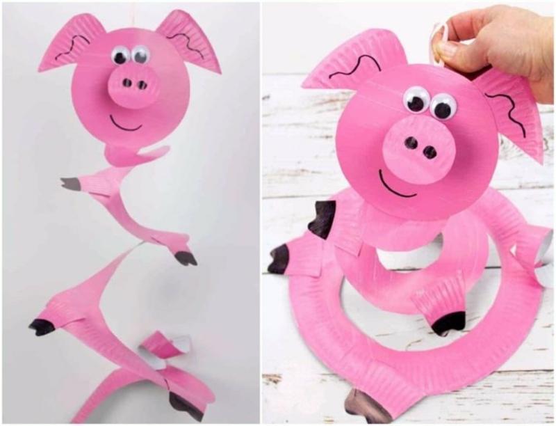 Schweinchen selber basteln Fasching