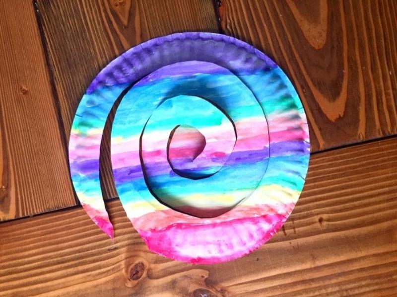 Pappteller bemalen Regenbogenfarben
