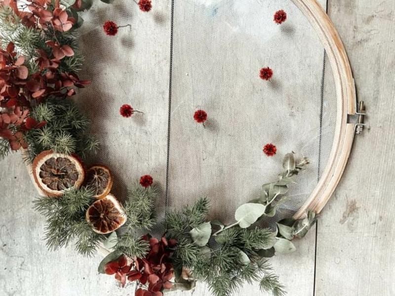 Stickrahmen dekorieren zu Weihnachten
