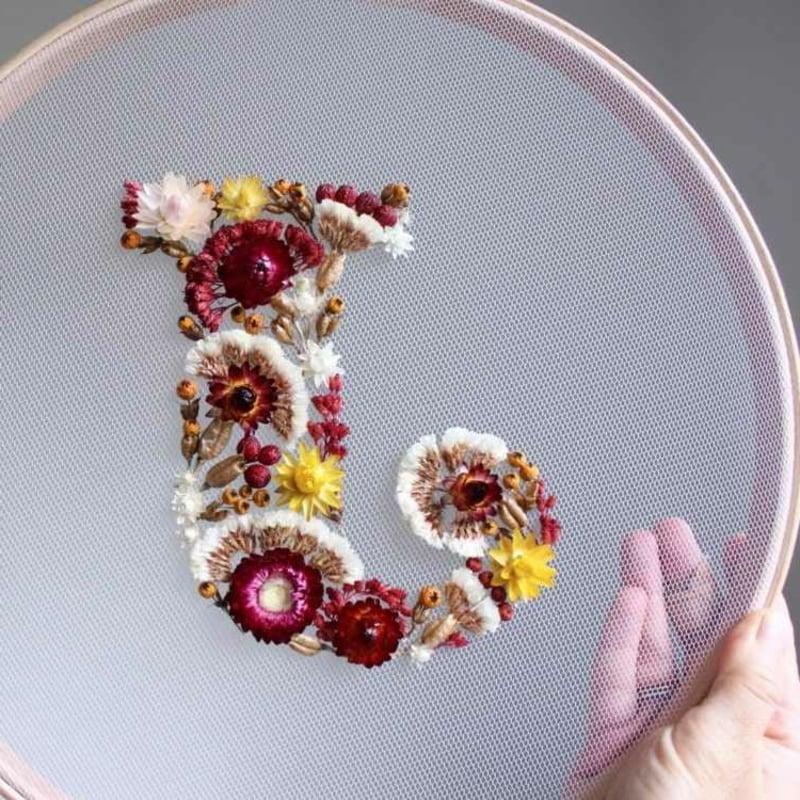 Stickrahmen dekorieren Buchstabe J