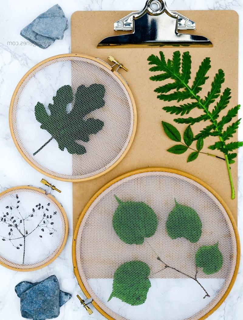 DIY Stickrahmen Deko mit frischen Blätter