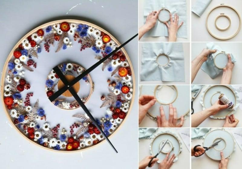 Uhr selber basteln mit Stickrahmen und Trockenblumen