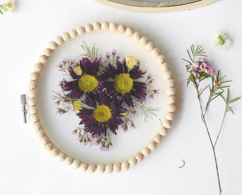 DIY Stickrahmen Deko Blumen nach der Saison verwenden