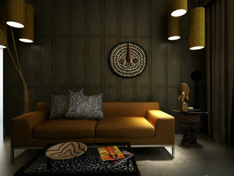 Wohnzimmer afrikanisch Farben gelungen kombinieren