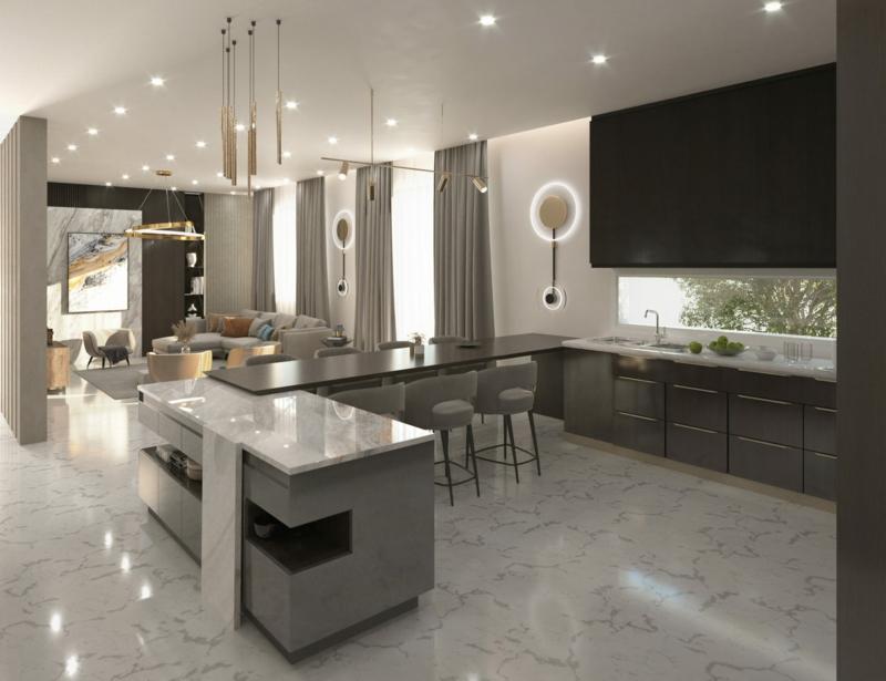 super elegante offene Küche indirekte Beleuchtung