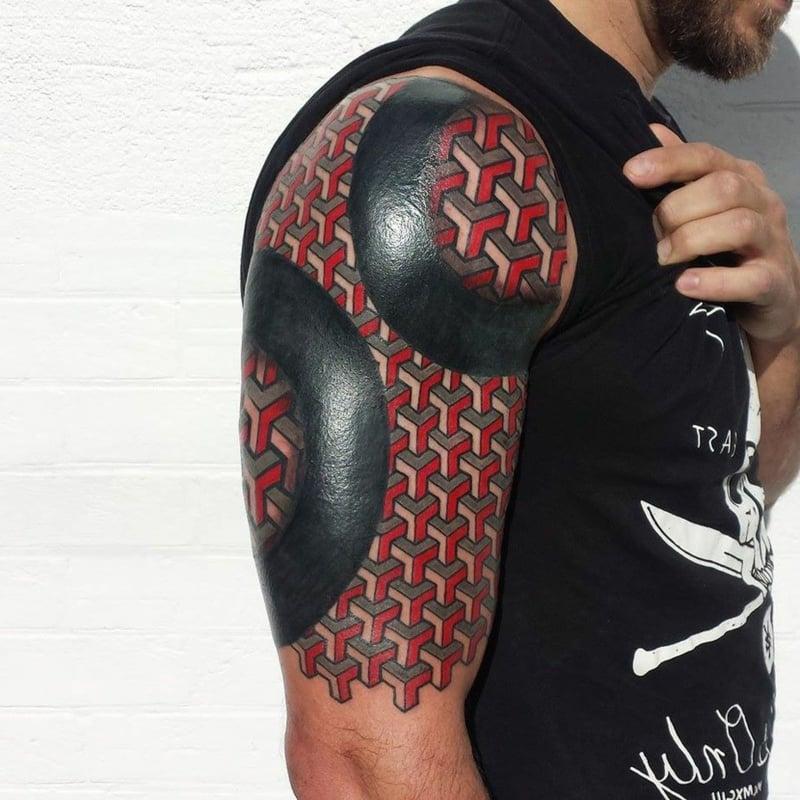 Tattoo Oberarm 3D geometrisch