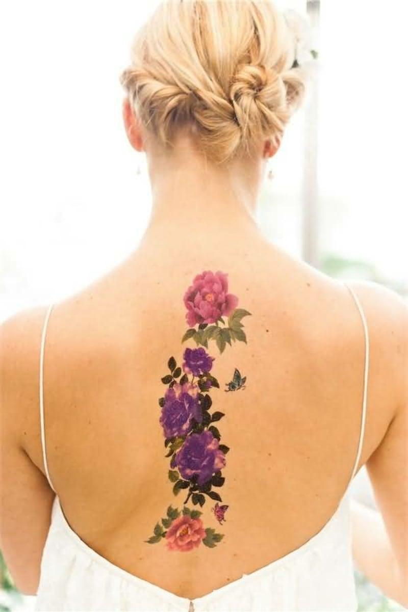 3D Tattoos für Frauen Blumen Rücken