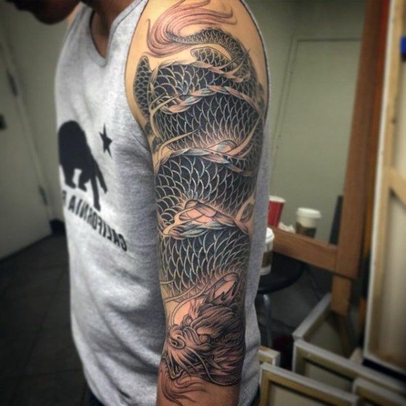 Tattoo Drache Full Sleeve
