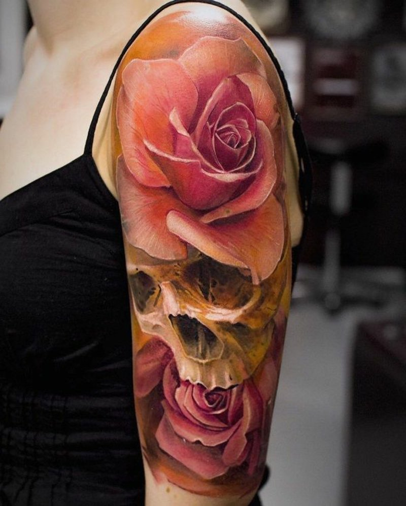 Tattoo Totenkopf bunt