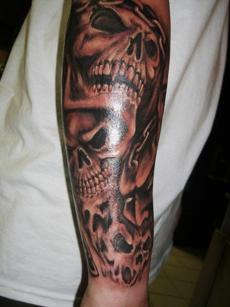 3D Tattoo schaurig Schädel
