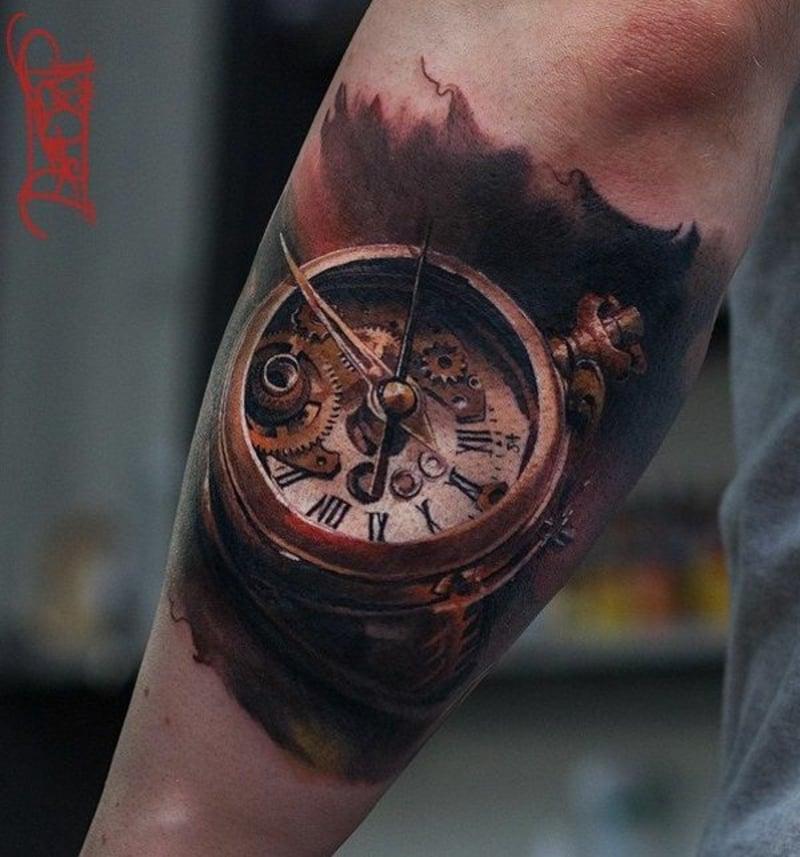 3D Tattoos Uhr Unterarm