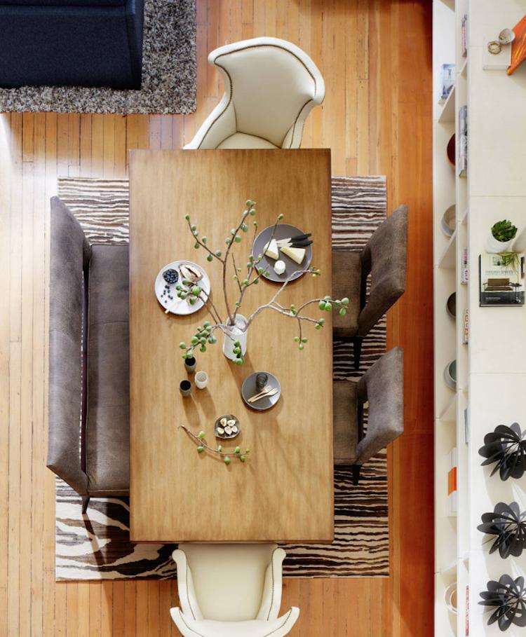 Teppich unter Esstisch ganz toll Streifenmuster