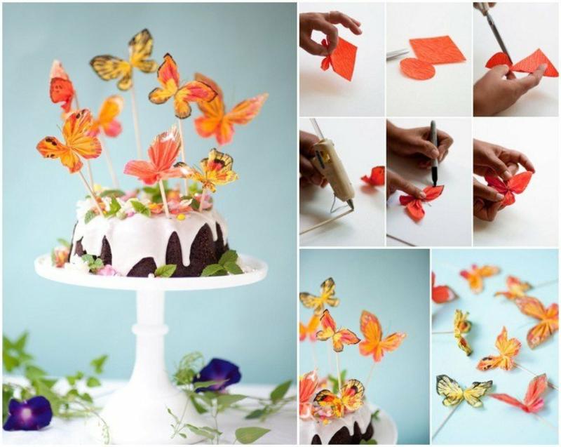 Tortendeko für Kinder Schmetterlinge aus Krepppapier