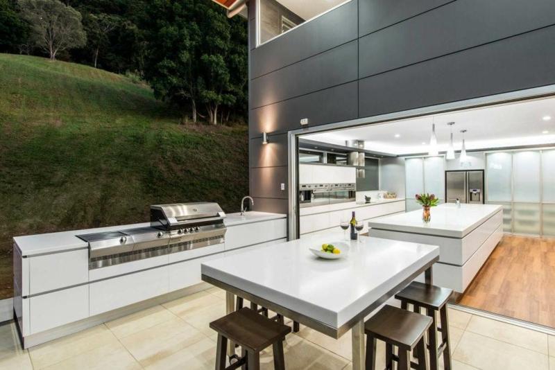 Outdoor Küche selber bauen moderne Einrichtung mit Gasgrill