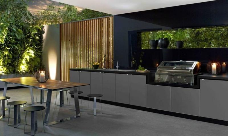 Outdoor Küche selber bauen dunkle Farbtöne