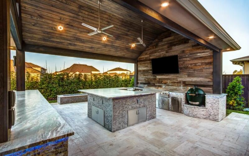 Terrasse mit Überdachung groß kleine Außenküche
