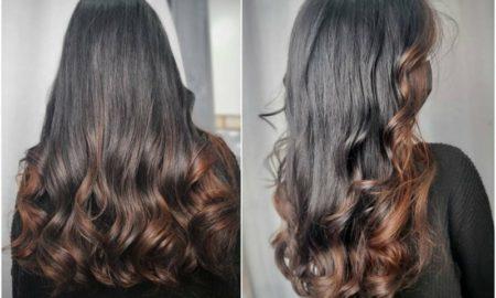 schwarze Haare mit Strähnen