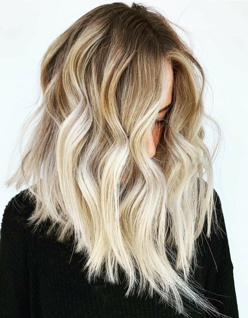 lange Haare Balayage Stufenschnitt