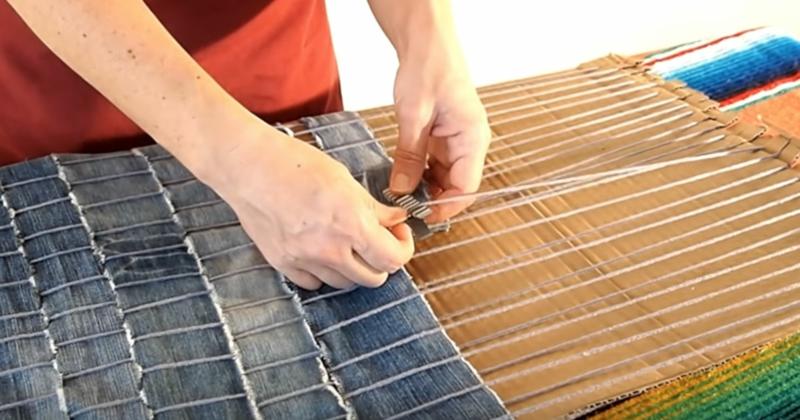 Upcycling Kleidung Denim-Teppich