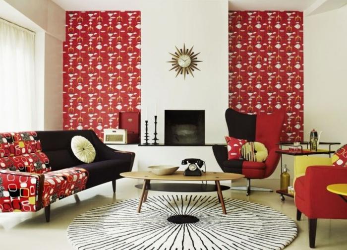 eklektischer Einrichtungsstil Wohnzimmer bunte Tapeten