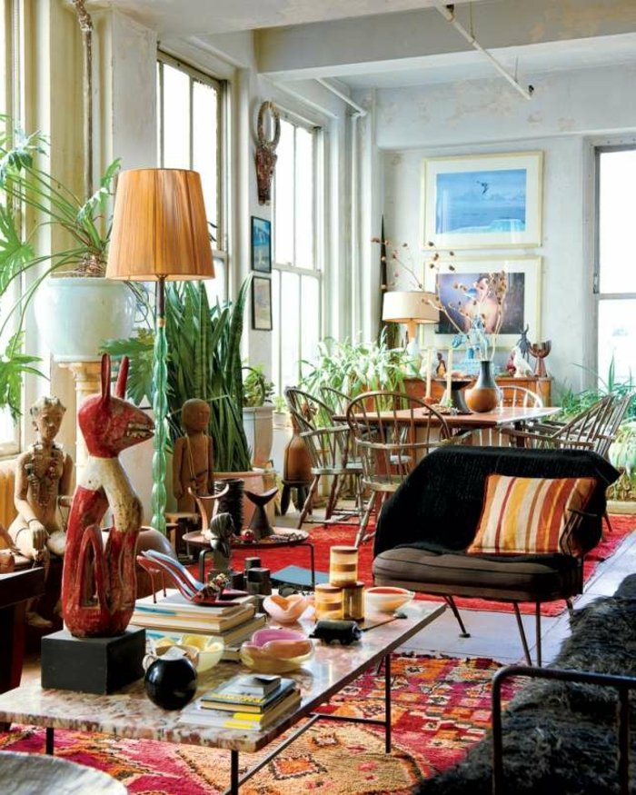 eklektischer Einrichtungsstil Wohnzimmer tolle Deko