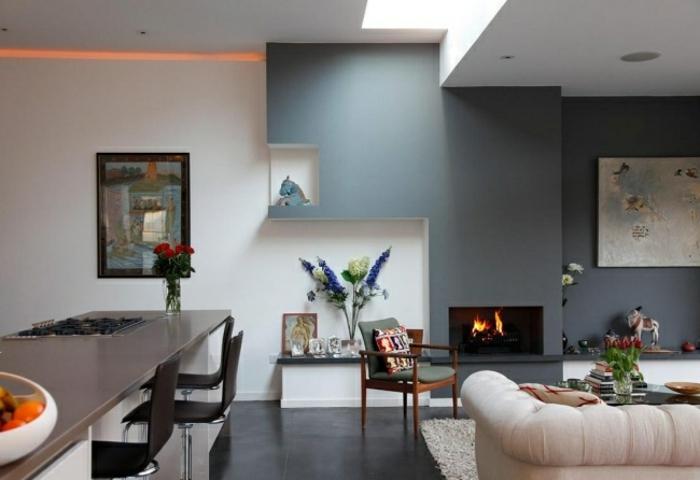 Wohnzimmer minimalistisch eklektische Akzente