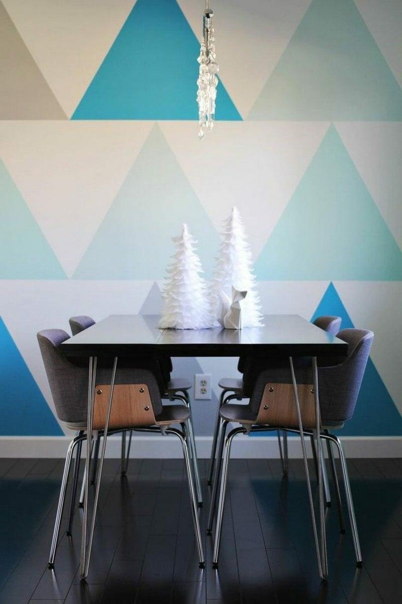 Wandgestaltung mit Farbe bunte Dreiecke