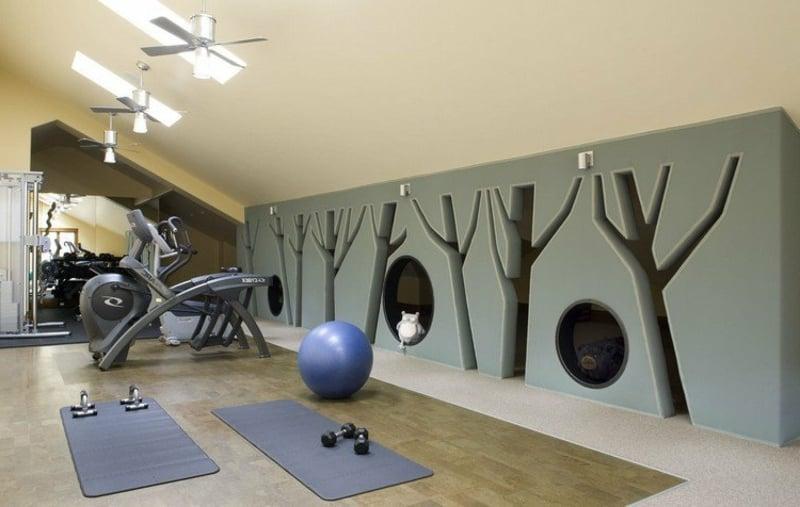 Fitnessraum Zuhause Yoga-Ball Matten