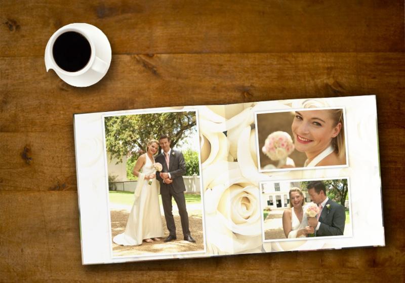 Hochzeitsfotobuch Hintergrund weiße Rosen