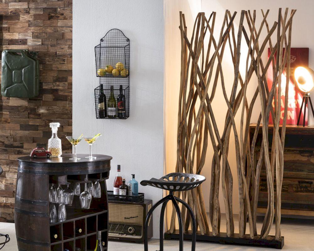 offener Wohnraum dekorative Wand Holz