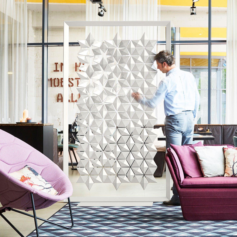 Raumteiler Ideen freistehend geometrische Motive
