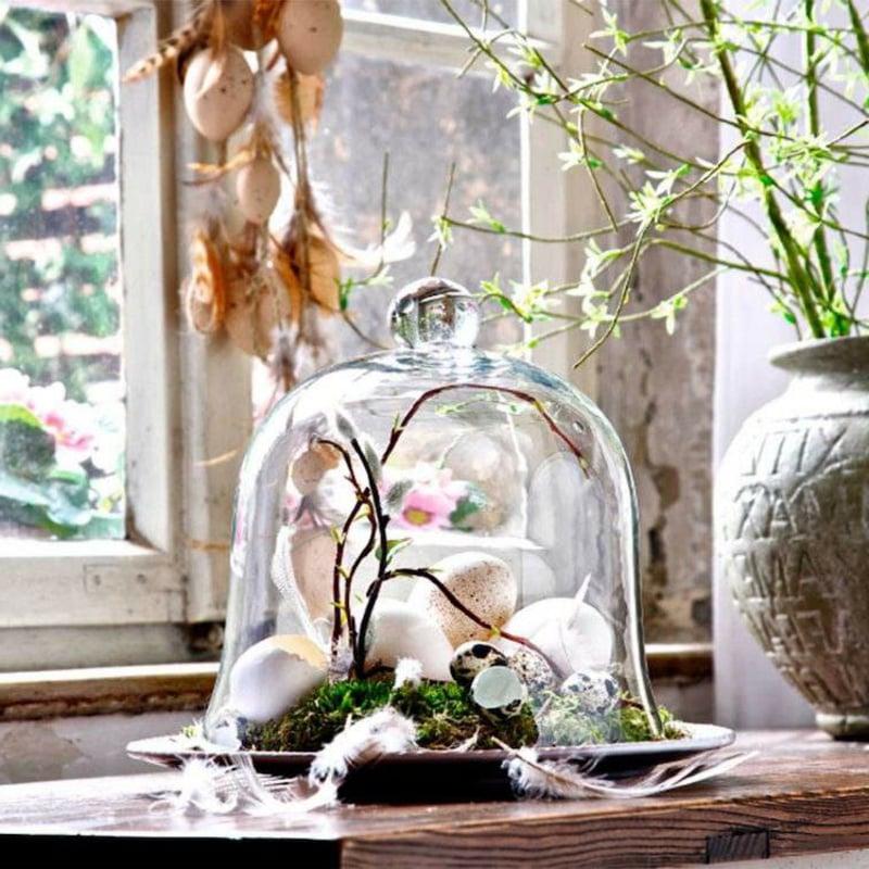 Deko Ostern unter Glasglocke