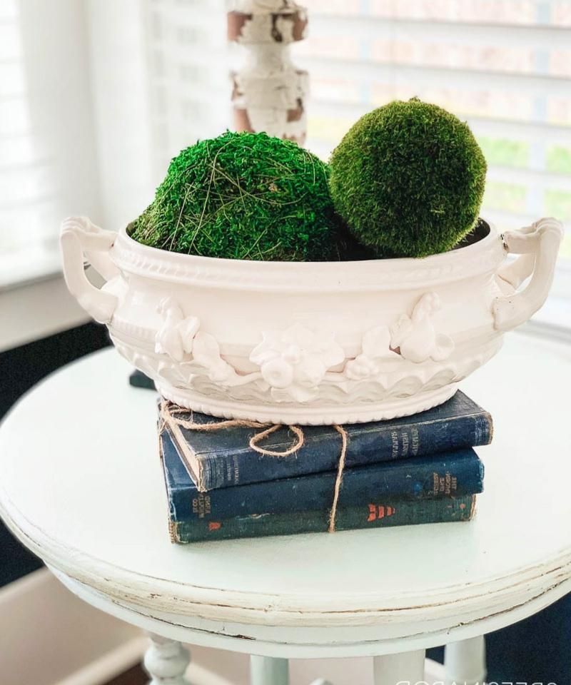 Mooskugeln anordnen Porzellan-Schüssel