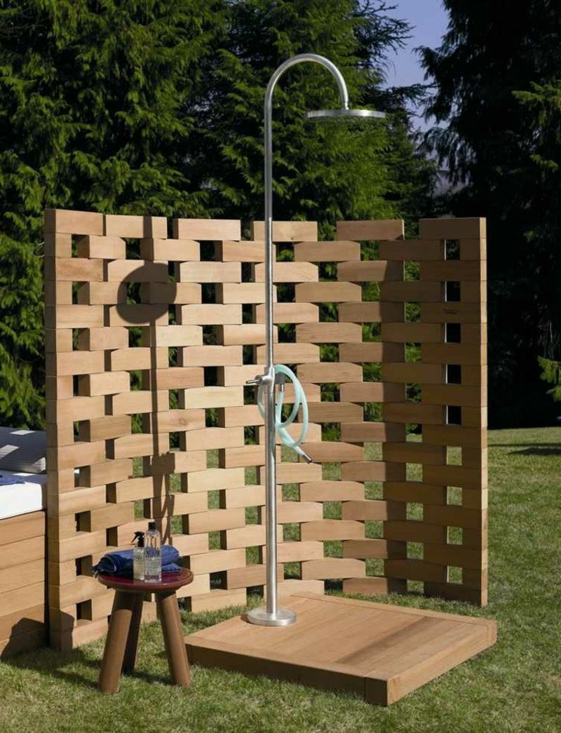 Paravent Garten Holz Dusche