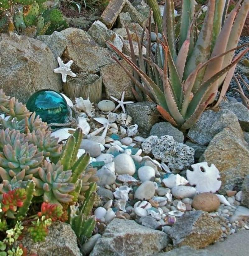 Garten maritim gestalten Pflanzen herrliche Deko