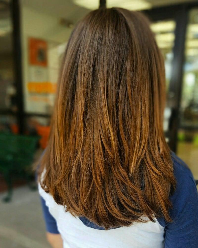 Stufen Frisur glatte Haare