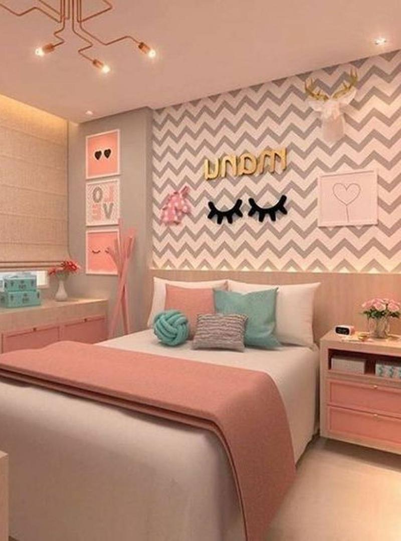 schöne Zimmer Ideen für Mädchen Akzentwand Tapete