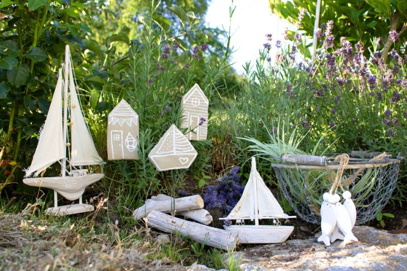Garten maritim gestalten Dekorationen originell