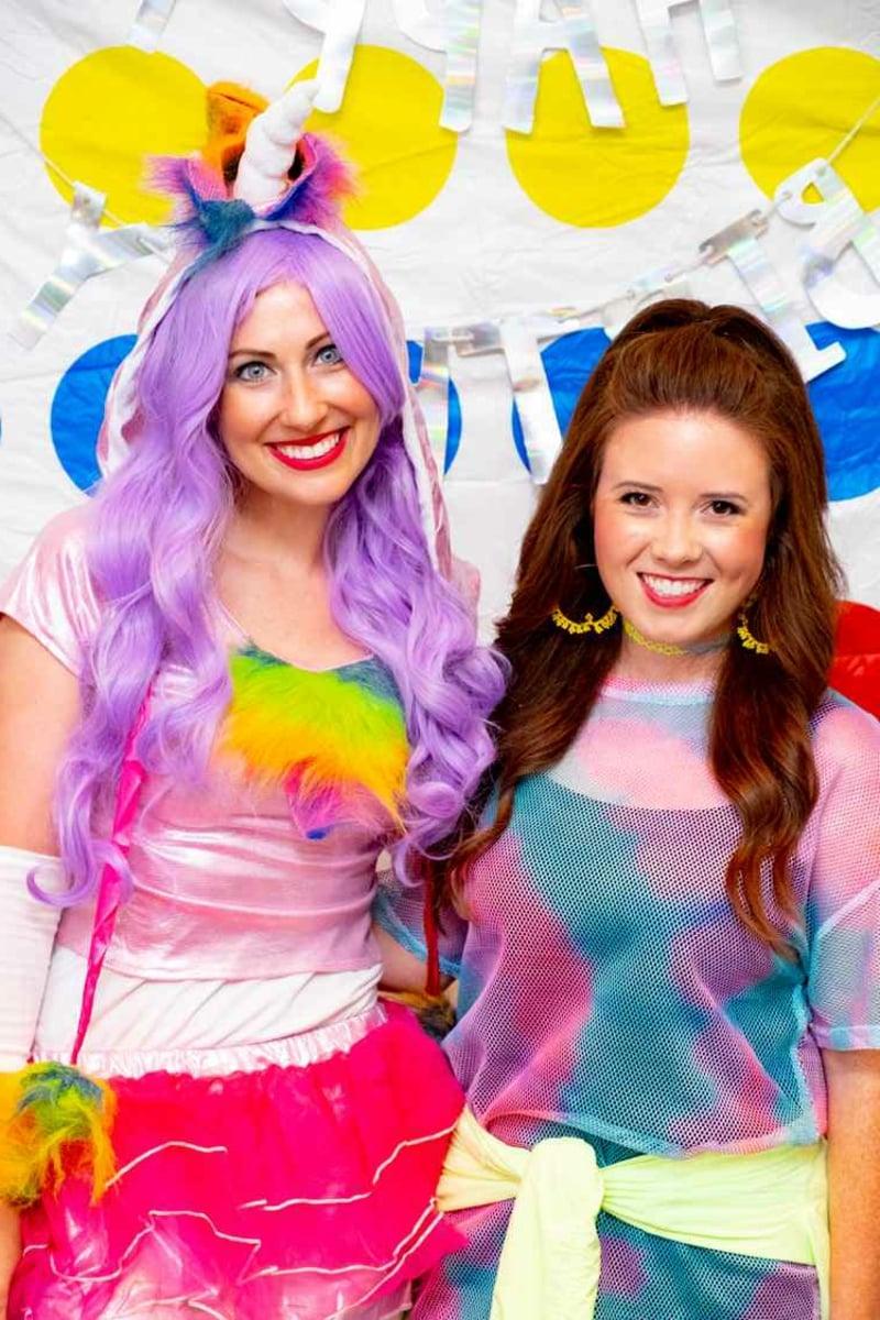 Klamotten 90er Party fröhlich Regenbogenfarben
