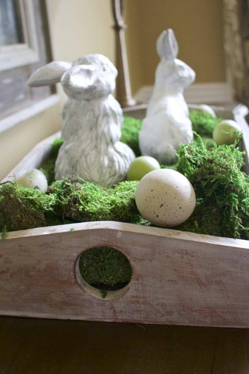 wunderschöne Osterdeko Eier Hasen Moos