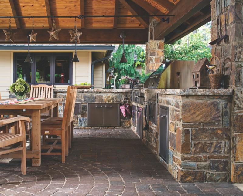 Outdoor Küche selber bauen mit Überdachung