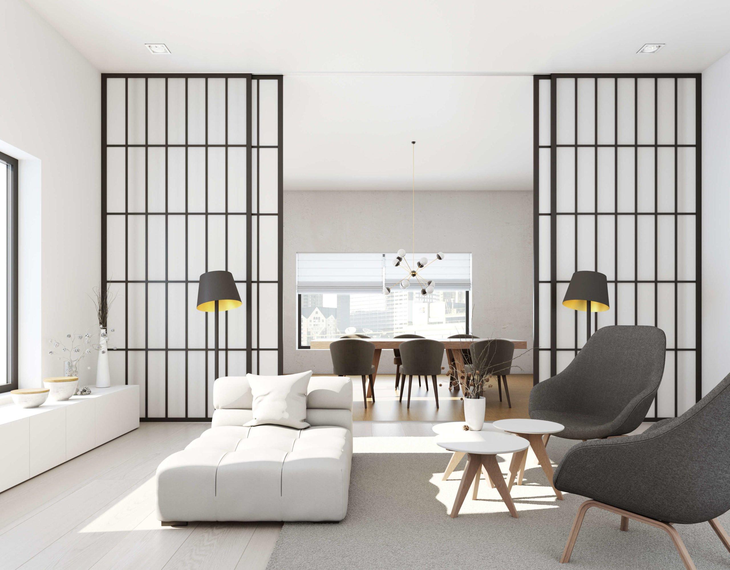 offener Wohnraum Schiebetüren Holz