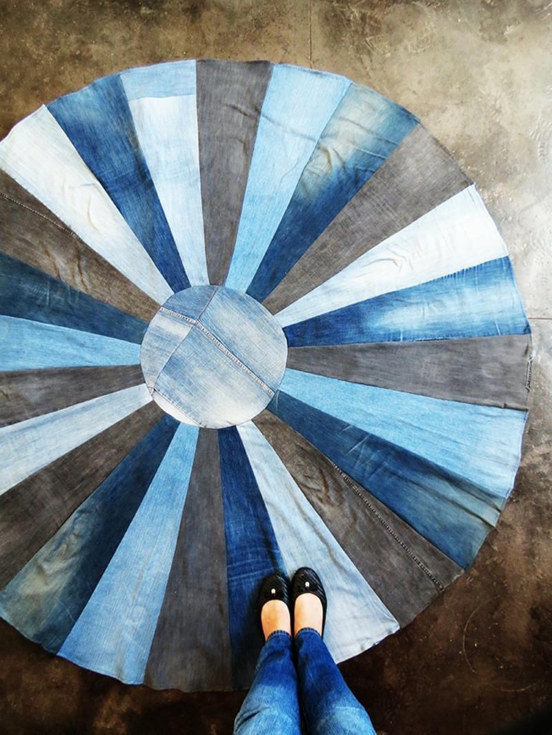 Teppich dekorativ rund Denim