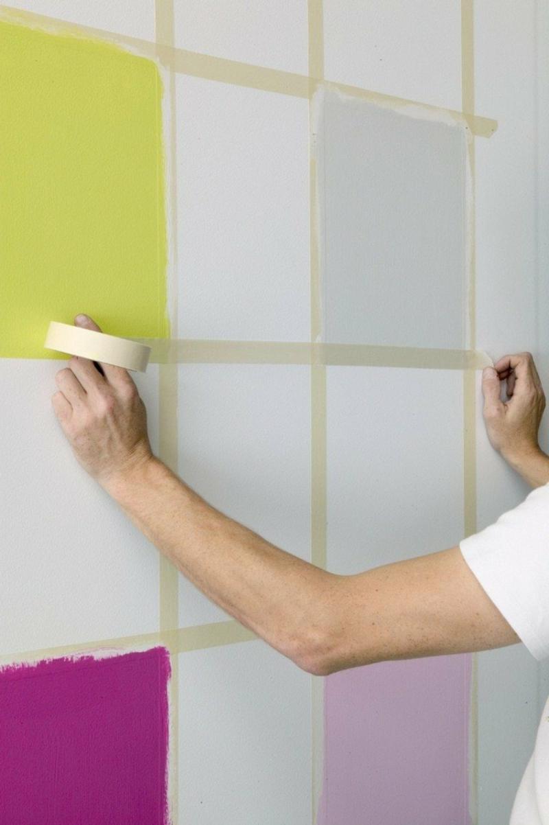 Wand streichen Muster Schachbrett