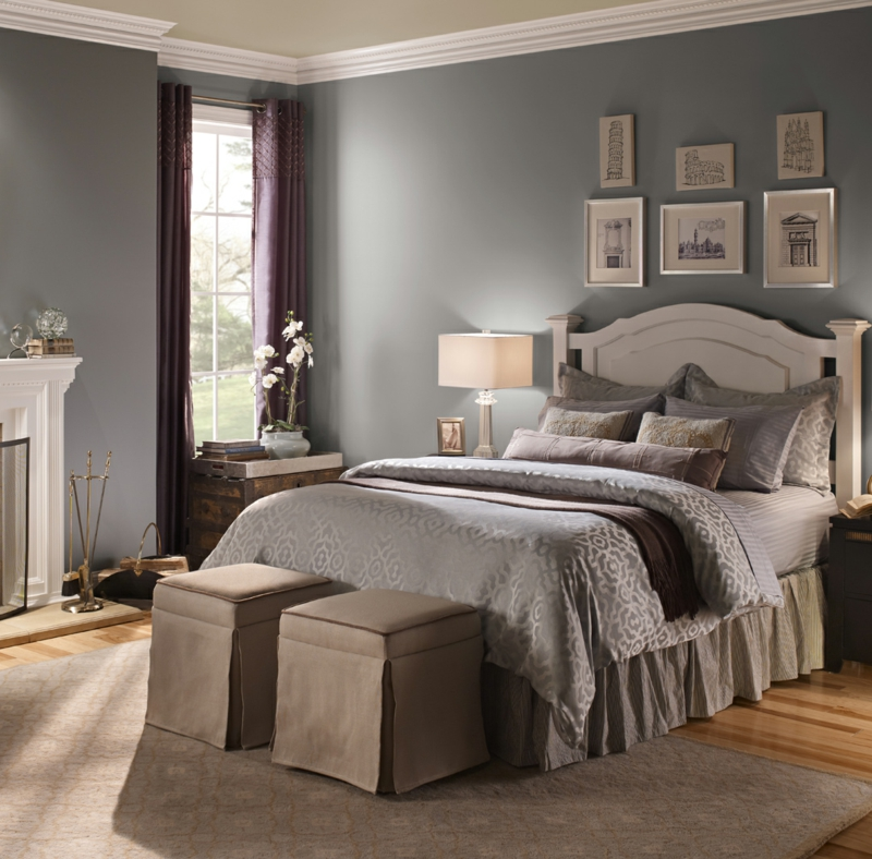 Raumgestaltung mit Farben Grau Schlafzimmer