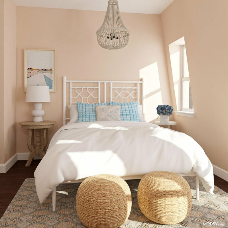 gemütliches Schlafzimmer Pastellrosa