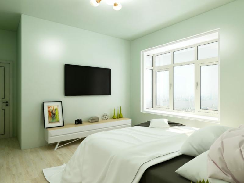 Raumgestaltung mit Farben Minzgrün Schlafzimmer