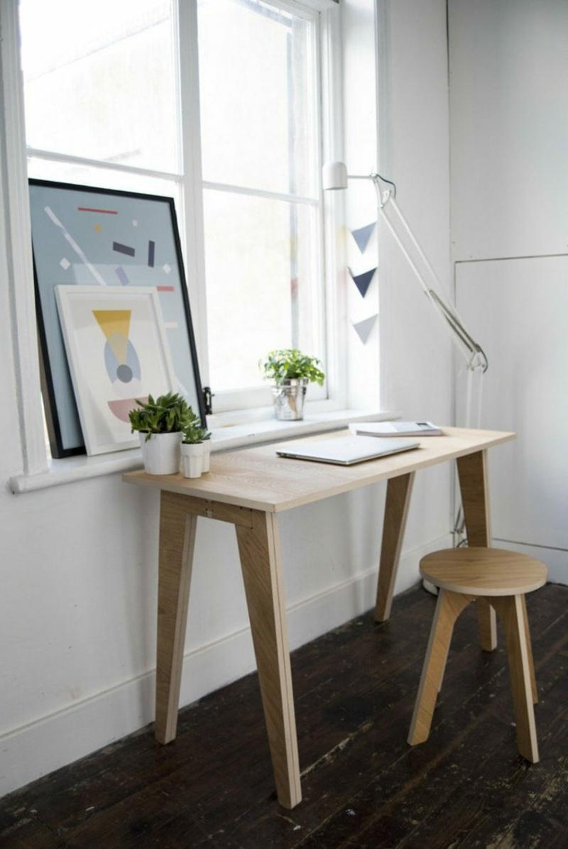 Schreibtisch Holz schmal Hocker